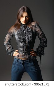 Attractive young woman in favorite clothes