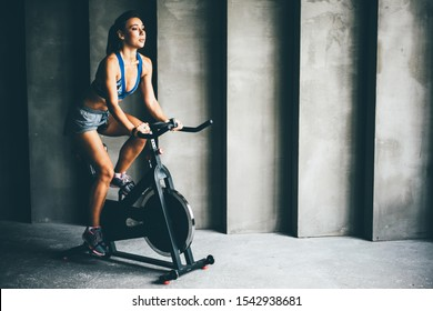 Attractive young woman at the gym riding on spinning bike. Healthy Lifestyle and Sport Concepts.