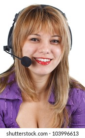 An attractive young woman with long blond hair, headset, smiling into camera - isolated on white