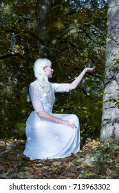 Attractive young woman with long blond hair in white dress kneeling holding a crystal ball aloft in her hand in an enchanted forest in a conceptual spiritual image