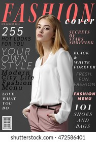 Attractive young woman on fashion magazine cover.  Fashionable lifestyle concept.