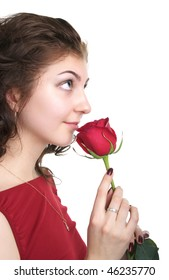 Attractive young woman with red rose isolated on the white background