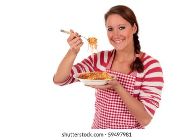Attractive Young woman  tasting freshly cooked spaghetti.  Studio, white background.