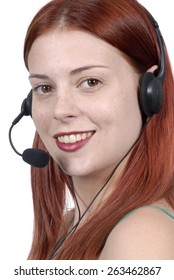 Attractive young woman, telephone headset, call center