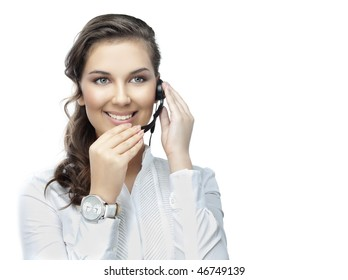 attractive young woman with telephone on white background