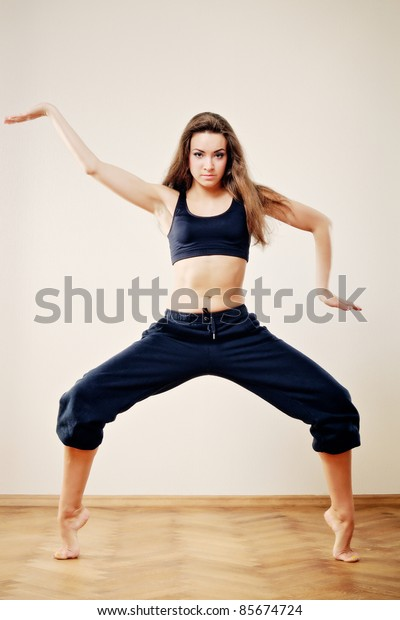 Attractive young woman to training of fitness exercise