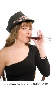 Attractive young woman with wine