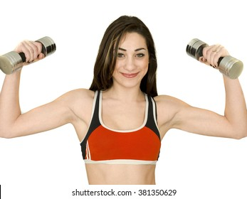 Attractive Young Woman Working Out With Weight Training Against A Plain White Background