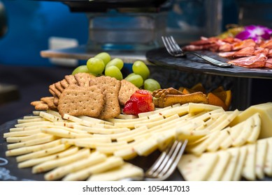 Attractively layered and arranged hors d'oeuvre display