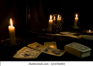 Attributes for fortune telling on tarot cards and magic