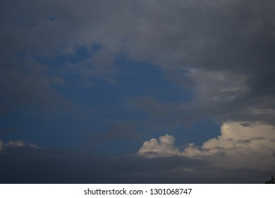 Atumn white clouds floating in blue sky