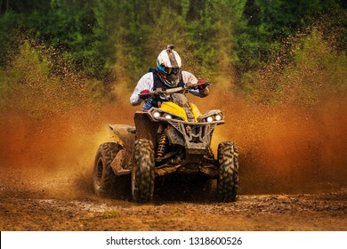 ATV in action. Extreme ride on dirt track. Baja