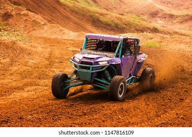 ATV adventure. Buggy extreme ride on dirt track. Baja, UTV