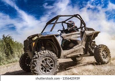 ATV adventure. Buggy extreme ride on dirt track. UTV