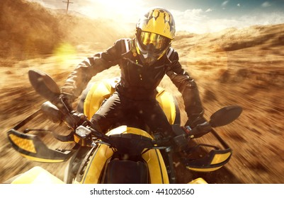 ATV Driver on full speed
