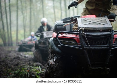 atv during off road rally in the forest