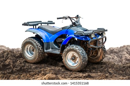 ATV Quad bike, All-Terrain vehicle, on the ground isolated on white background with clipping path
