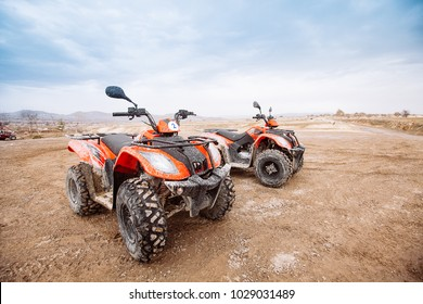 ATV Quad Bike in front of mountains landscape in Turkey