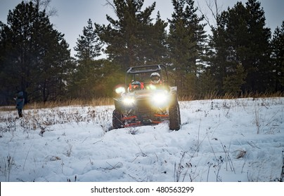 ATV in the winter forest