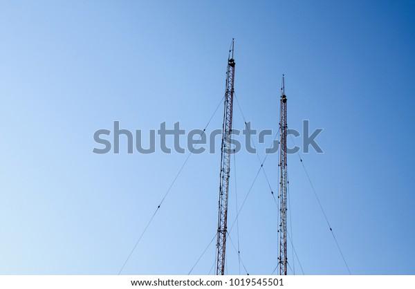 Atwo Antenna Towers Vhf Radio Station Stock Photo (Edit Now