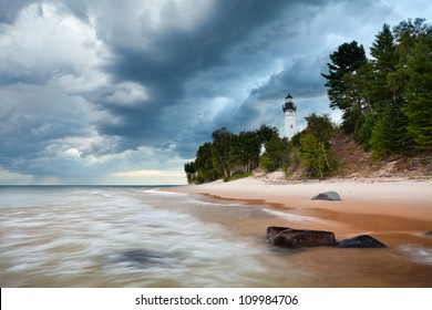 Au Sable Lighthouse. Image of the Au Sable Lighthouse in Pictured Rock National Lakeshore, Michigan, USA.