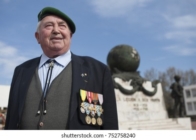 Aubagne, France. May 11, 2012. Portrait of a veteran of the French Foreign Legion in a green beret at the monument in memory of the dead legionaries.