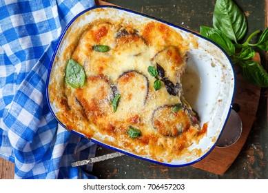 Aubergine eggplant bake with meat moussaka