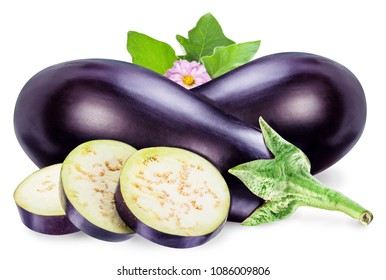 Aubergine or eggplant with aubergine flower and leaves on white background. File contains clipping path.