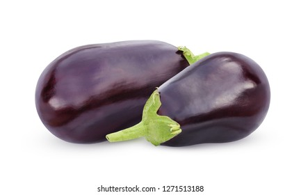 Aubergine (eggplant) isolate on white background. whole vegetables.