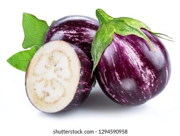 Aubergine or eggplant isolated on white background.