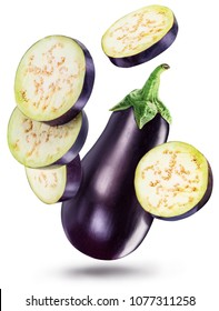 Aubergine or eggplant with aubergine slices on white background. File contains clipping paths.