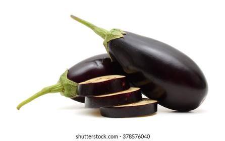 aubergine eggplants on white background