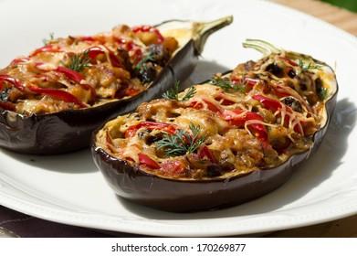 Aubergine stuffed with vegetables