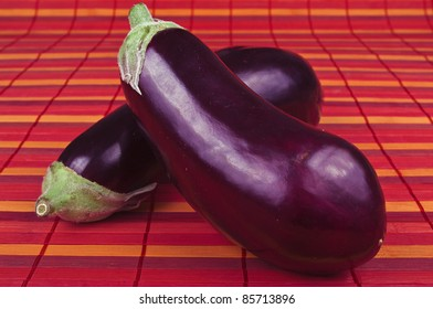 aubergine vegetable on the red background