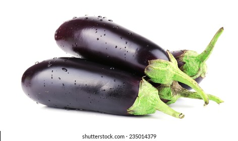 Aubergines isolated on white