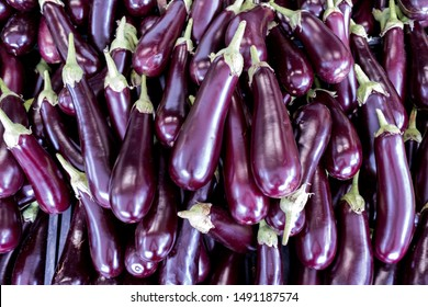 aubergines at market for background use