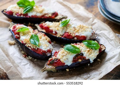 Aubergines stuffed with tomatoes and mozzarella