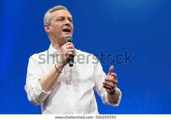 AUBERVILLIER, FRANCE - MARCH 5, 2016 : Bruno Le Maire during his meeting within the primary for the 2017 French election to the presidency of the republic to announce his candidacy.