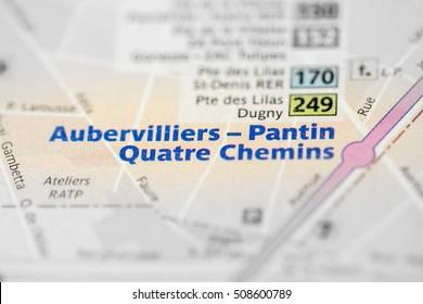 Aubervilliers-Pantin Quatre Chemins Station. 7th Line. Paris. Fr