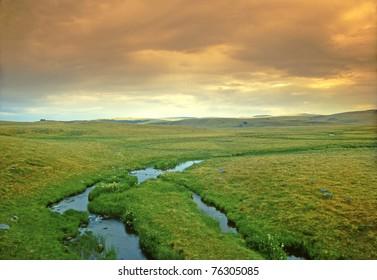 Aubrac plateau landscape, Massif Central of France, UNESCO - the Pilgrim's Road to Santiago de Compostela
