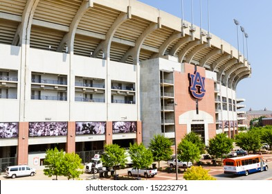 AUBURN, AL- AUG. 29: Facade of Jordan Hare stadium on the campus of Auburn University in Auburn, Alabama, on Aug. 29, 2013. The stadium is the home field for the 2010 NCAA Champion Auburn Tigers.