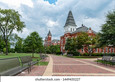Auburn, Alabama/USA- July 7, 2019:  A scenic view looking down the walkway leading to Hargis Hall on the campus of Auburn University in the summer time.