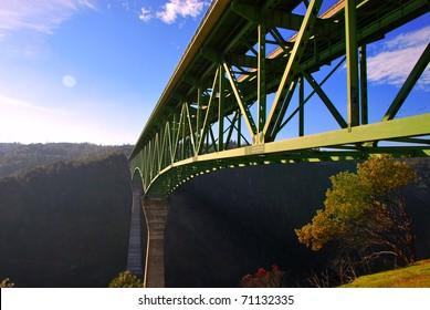 Auburn Bridge Foresthill California highest 730 feet american river north fork over blue sky background