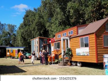 AUBURN, CALIFORNIA SEPTEMBER 27, 2019 Part of the tiny house village at the Auburn Home Show.
