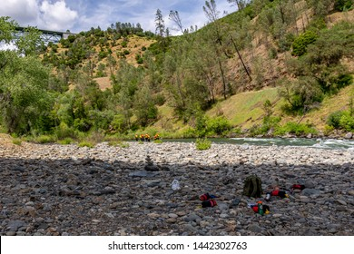 Auburn, California / USA - May 20, 2019: Placer County Dive Team doing rescue training exercises in the American River at Auburn State Recreation Area near Foresthill Bridge