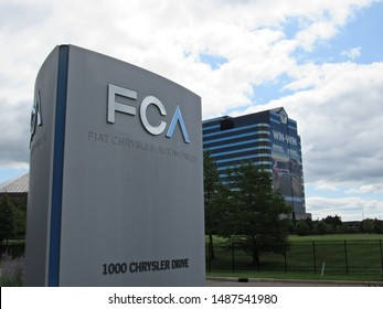 Auburn Hills, MI/USA-8/24/19: A sign welcoming visitors to the headquarters campus of Fiat Chrysler Automobiles company outside Detroit.