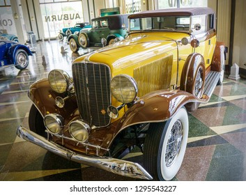 Auburn Indiana / USA 5/26/2016 Auburn Cord Dusenberg Museum National Register of Historic Places collection and preservation of american automobiles with visual exhibits.