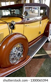 Auburn Indiana / USA 5/26/2016 Auburn Cord Duesenberg Museum National Register of Historic Places collection and preservation of american automobiles with visual exhibits. Closeup vintage automobile