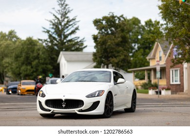 Auburn, Indiana, USA - September 9, 2018 The Auburn Cord Duesenberg Festival, Maserati GranTurismo on the streets of Auburn during the exotic car exhibite