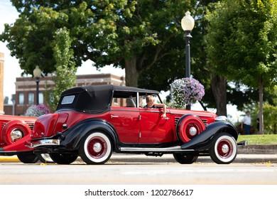 Auburn, Indiana, USA - September 9, 2018 The Auburn Cord Duesenberg Festival, An Auburn classic car parked on the streets of downtown Auburn Indiana after the parade